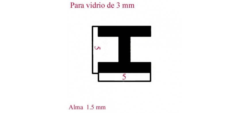PERFILES 1 METRO VIDRIO DE 3 m
