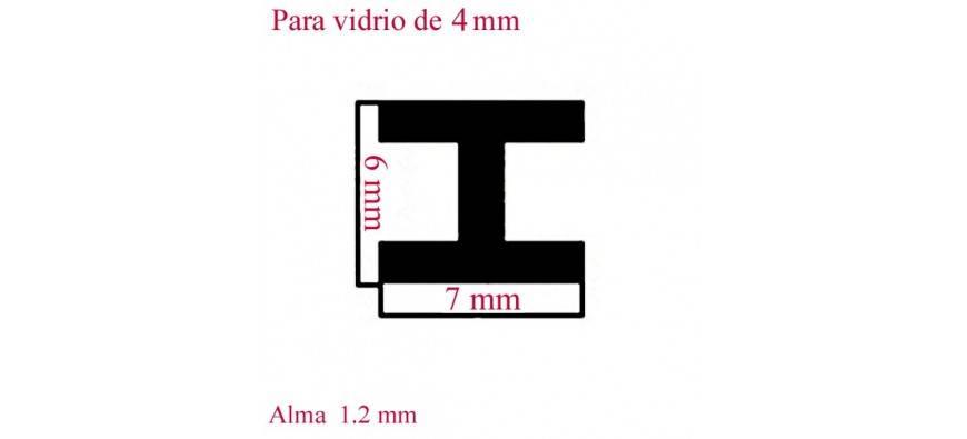 PERFILES 1 METRO VIDRIO DE 4 m
